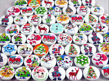 80 x 15mm Round Wooden Christmas Buttons - Xmas Crafts, Cards, Sewing & More