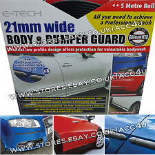 E-Tech 21mm 5M NERO AUTO BODY & PARAURTI Guard Protector stampaggio STRISCIA + CALOTTE