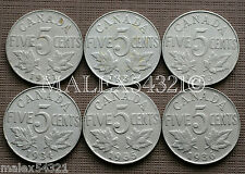 1931 TO 1936 GEORGE V 5 CENT SET (6 COINS) NICKEL CIRCULATED