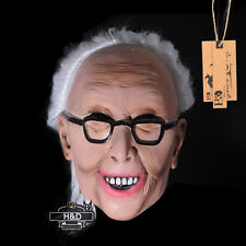 Scary Latex White-haired Old Lady Halloween Mask Masquerade Costume Party Props