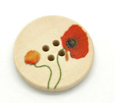 50 NEW Flower Pattern 4 Holes Wood Sewing Buttons 25mm
