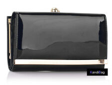 Ladies Black Patent Glossy Purse Women Wallet Evening Shiny Clutch bag Purses