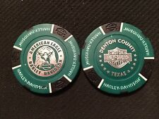 "Harley Poker Chip (Green & Black NEW DESIGN) ""American Eagle"" Corinth, Texas"