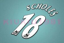 Manchester United Scholes #18 PREMIER LEAGUE 97-06 White Name/Number Set