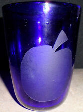 Cobalt Blue Water Glass Embossed Apple Collectible Glassware Serving Table Ware