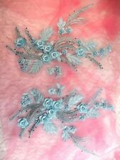 "Embroidered 3D Dance Appliques Light Blue Floral Mirror Pair 13"" (DH76)"