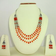 925 STERLING SILVER OVERLAY NECKLACE,EARRINGS NATURAL CARNELIAN GEMSTONE 42 GMS.