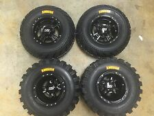 SET 4 YAMAHA RAPTOR 350 660 700 R BLACK ITP SS112 Rims & AMBUSH Tires Wheels kit