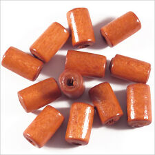 Lot de 50 Perles en Bois Tubes 6 x 10 mm Rouge Orangé