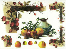 Rice Paper for Decoupage, Scrapbook Sheet, Craft Paper Vintage Autumn Fruits Mix
