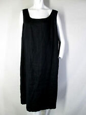 EMANUEL UNGARO WOMAN 18W 18 DRESS black shift 100% linen sleeveless lined casual