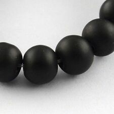 Glass Bead Strands Rubberized Round Beads Diy Black DIY Craft X-DGLA-S072-8mm-24