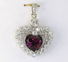 "Diamond pyrope garnet heart pendant 18K white gold round brilliant 3.90CT 1""x.75"