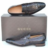 GUCCI New sz UK 9 - US 10 Authentic Designer Mens Crocodile Loafers Shoes Brown