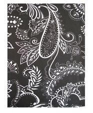 Park Avenue Black Off - White Paisley floral Swirl Dot Fabric Shower Curtain NEW