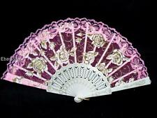 Pink Spanish flower Floral Fabric Lace Folding Hand Dancing Fan Party Favor #E