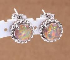 2015 Hot Orange Fire Opal Women Jewelry Gemstone Silver Stud Earrings 11mm LE152