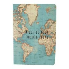 Pocket sized Notebook - Blue Vintage Map design, Plain paper