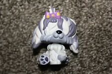 Littlest Pet Shop Sheepdog #465 White Purple Gray Pink Bow Dog Puppy LPS Toy
