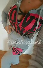 Victoria's Secret Pink VS Mega Heart Rear Logo Flat Front Sweats Hoodie Set M S