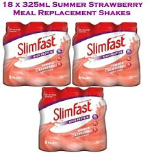Slim Fast Summer Strawberry Meal Replacement Shake Multipack 18 Bottles x 325ml