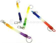 MULTI COLOUR RETRACTABLE EXTENDING SPIRAL SPRING STRETCH COIL KEY RING BELT CLIP