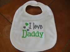 Embroidered Baby Bib - I Love Daddy - Neutral - Gray/Green