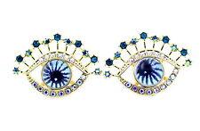 Goth punk style watching eyes,  blue iris, evil eye earrings