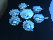 lot of 7 CHINESE B&W PORCELAIN TRANSLUCENT RICE BOWLS WITH SPOONS . MARKED