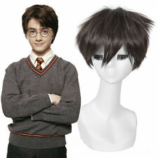 Harry Potter Wig Boy Realistic Short Dark Brown Messy Pixie Synthetic Hair Wig
