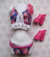 Barbie Beach clothes~Swimming Suit Swimsuit & Matching Shoes White Ruffle Bikini
