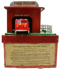 Vintage 1940s Dinky Electronic Fire House Station Garage w/Fire Engine Tin w/Box