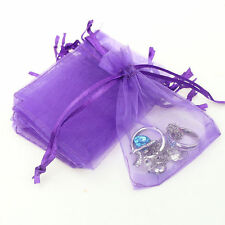 25Pcs Organza Wedding Party Favor Gift Candy Bag Packing 7X9cm(Purple)