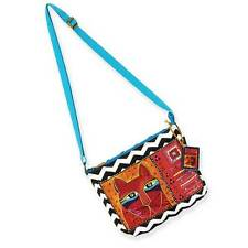 """Whiskered Cats"" Laurel Burch Small Canvas Tote Cross-Body Bag - Turquoise"