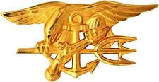 US Navy Seal Team Trident Gold Large Lapel Pin Full Size Badge 2-3/4""