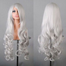 Halloween Party Fancy Silver Long Curly Wig Wigs Cosplay Costume Women Ladies