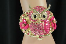 New Women Gold Metal Fashion Cuff Bracelet Big Owl Flowers Red Pink Blue Brown
