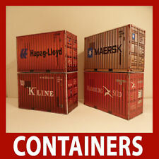 "OO Model Railway ""Pre-Weathered"" Shipping Containers Model Card Kits 20ft  x 5"