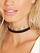 Fashion Jewelry Ribbon Gold Pendant Women Choker Chunky Bib Statement Necklace