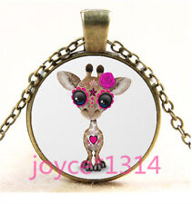 Sugar Flower Giraffe Cabochon bronze Glass Chain Pendant Necklace TS-6211