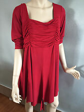 BNWT Womens Sz 18 Autograph Brand Ruby Red Half Sleeve Gathered Tunic Top RRP$60
