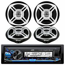 "KDX31MDS JVC Bike ATV Radio Bluetooth AUX Stereo,4 Black/Chrome 6.5"" Speakers"