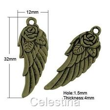10 x Angel Wing - Rose - Antique Bronze Steampunk Fairy Wings - LF NF 32mm TS269