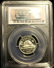**1965 Large Bead DJ**,PCGS Graded Canadian,  Nickel 5 Cent, **MS-64**