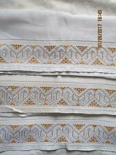 "3 LARGE VTG ANTIQUE EMBROIDERED CUTWORK HAND TOWELS~GOLD & BABY BLUE~18"" X 30.5"""