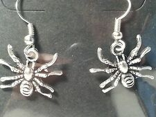 Silver Tone Spider Drop Style Hook Fashion Earrings - Gothic Halloween - Jewelry