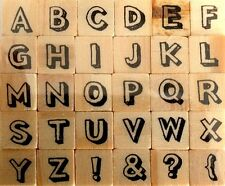 Dovecraft Shaded Outlines Mini Wooden Face Rubber Alphabet Stamp DCVW0050-SO