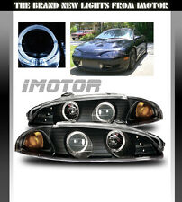 97-99 Mitsubishi Eclipse Black/Amber Halo Ring Projector Headlights Lamps