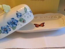 Lenox Butterfly Meadow OBLONG Covered Butter Dish   NEW IN BOX with TAGS!