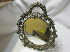 ANTIQUE ORNATE VICTORIAN SILVER PLATE VANITY MIRROR STANDING ROSES